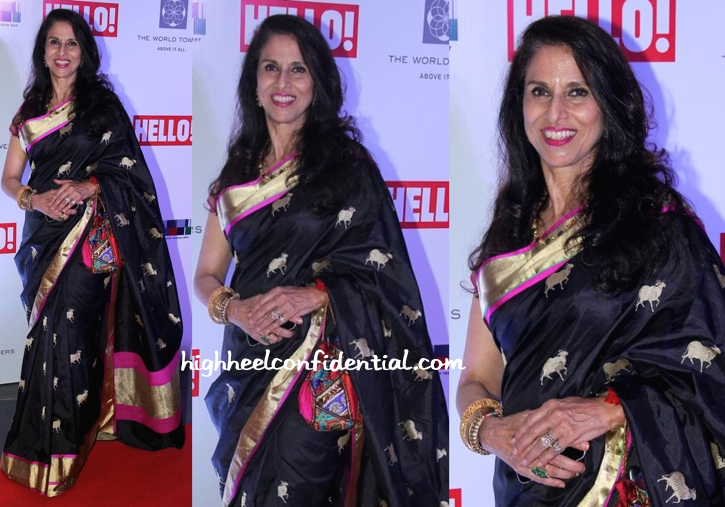Shobhaa De In Raw Mango At Hello! Art Soiree (Also Seen Previously On Samantha)