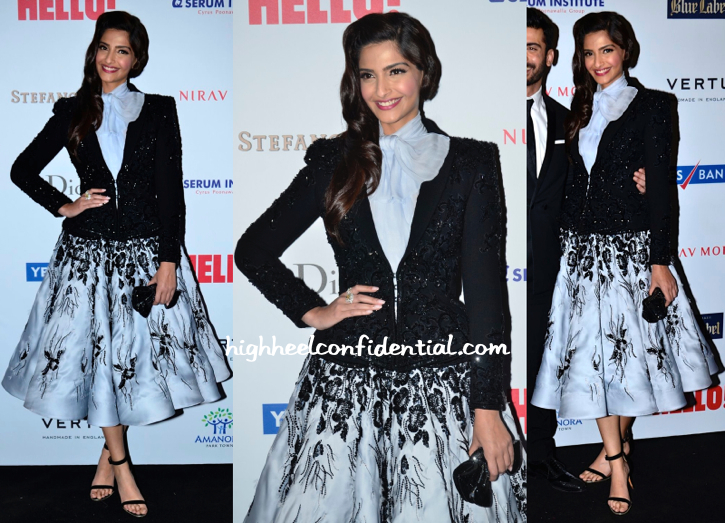 Sonam Kapoor In Ralph & Russo Couture At Hello! Hall Of Fame 2014 Awards