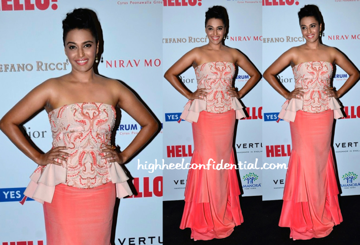 Swara Bhaskar In Jade By Monica & Karishma At Hello! Hall Of Fame Awards 2014