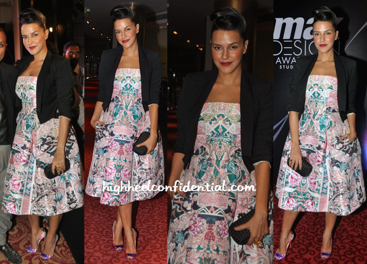 Neha Dhupia In Mary Katrantzou At Max Design Awards 2014-1