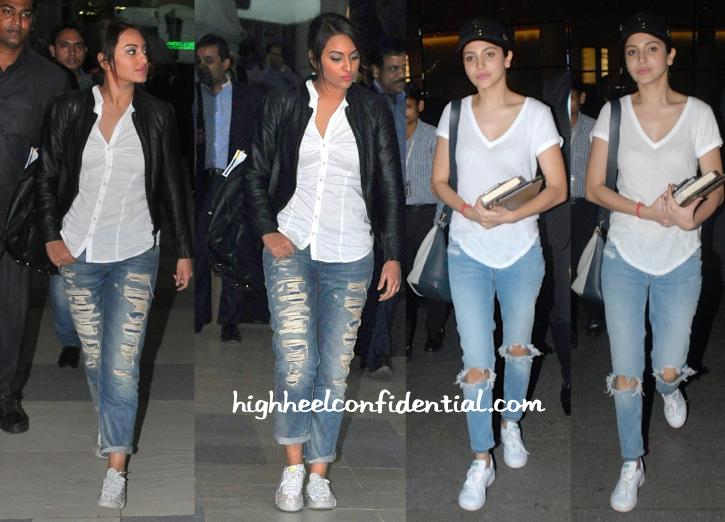 Sonakshi Sinha And Anushka Sharma Photographed At The Airport