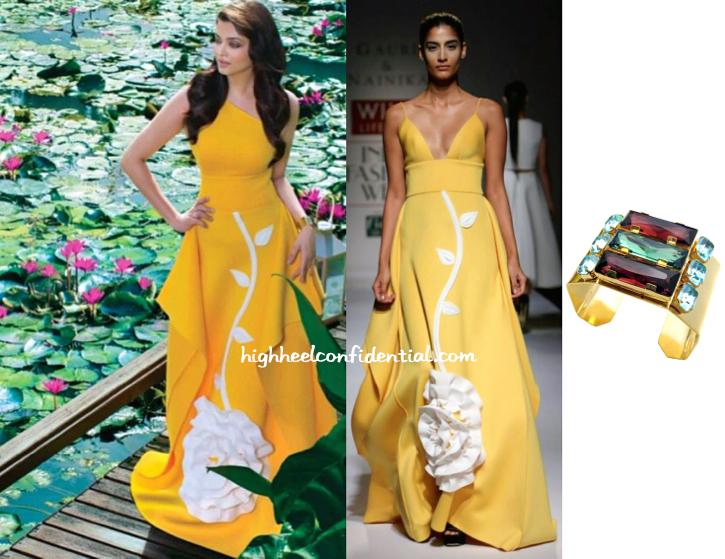 A recent print campaign had Aishwarya Rai Bachchan wear a Gauri and Nainika gown with Maithili Kabre cuff