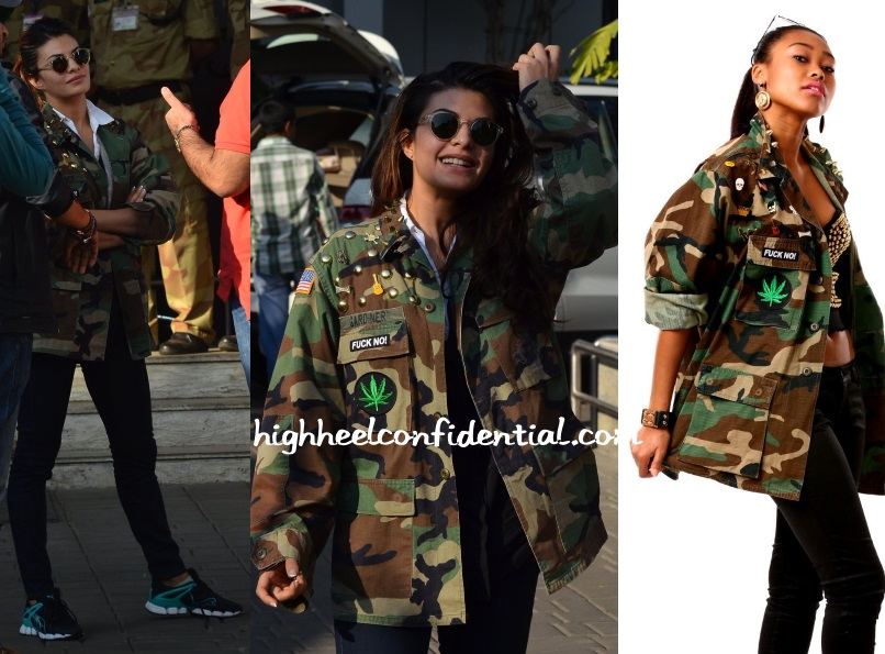 jacqueline-fernandez-coal-terry-camouflage-jacket-saifai-airport