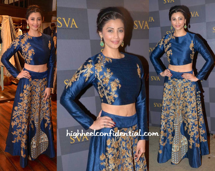 Daisy Shah In Delna Poonawala At Poonawala Race 2015 And In SVA By Sonam & Paras Modi At Their Collection Preview-1