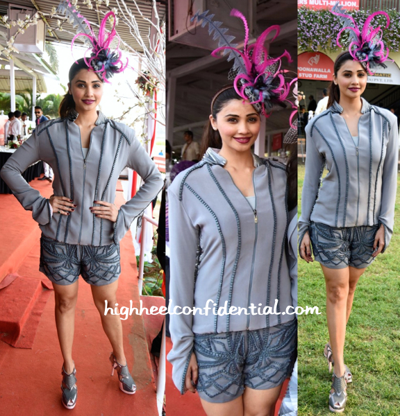 Daisy Shah In Delna Poonawala At Poonawala Race 2015 And In SVA By Sonam & Paras Modi At Their Collection Preview-2