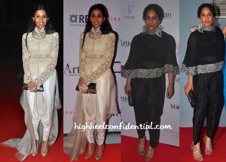 Suhani Pittie And Masaba Gupta Wear Anamika Khanna To GJEPC Artisan Awards 2015