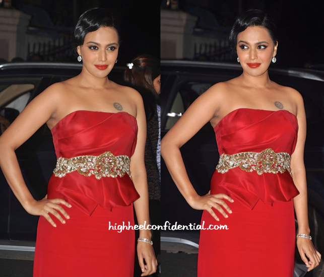 Swara Bhaskar In Notte By Marchesa At Filmfare Awards 2015-2