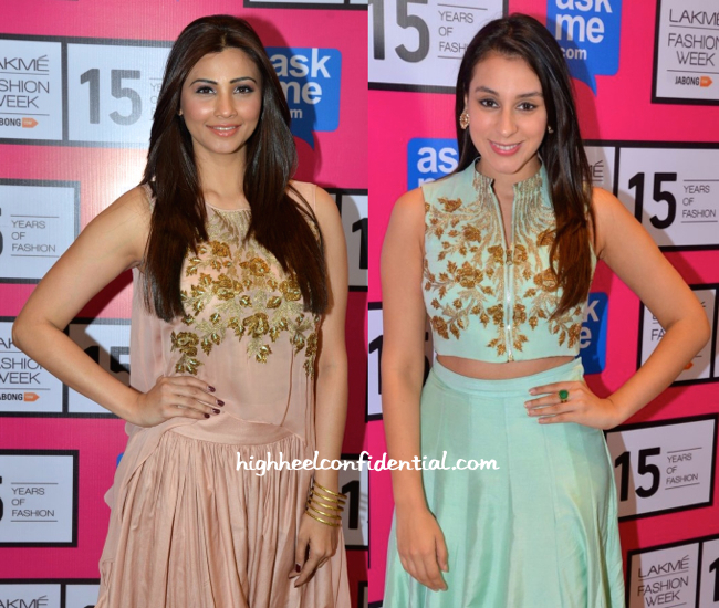 Daisy Shah And Anindita Nayar Wears SVA By Sonam And Paras Modi To The Designers' Show At LFW-1