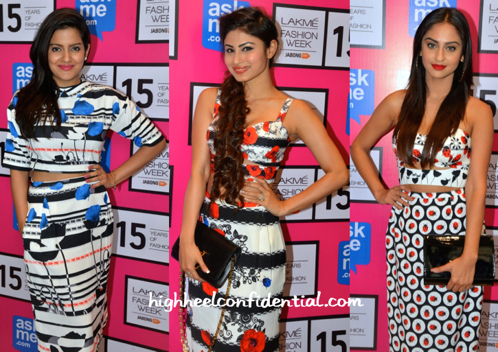 Vishakha Singh, Mouni Roy And Krystle D'Souza At Ken Ferns' Show At LFW 2015-2