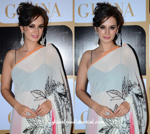 Evelyn Sharma In Gauri Khan For Satya Paul Sari At K Jo For Gehna Limited Edition Holiday Collection Launch-2