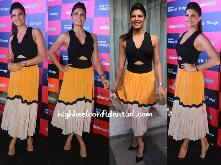 Jacqueline Fernandez In Issa At Samsung S6 Launch-1