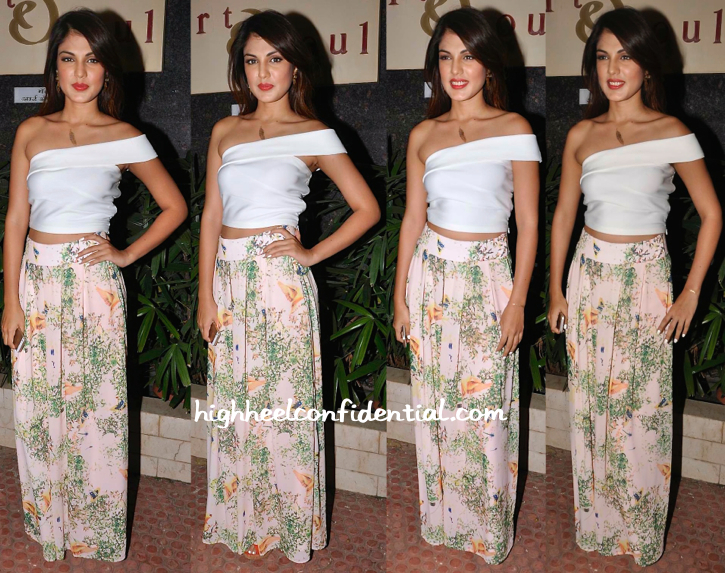 Rhea Chakraborty In Amy Billimoria At Shayonti Roy Kapur's Art Exhibition