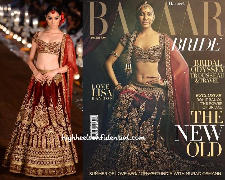 lisa-haydon-rohit-bal-bazaar-bride-april-2015