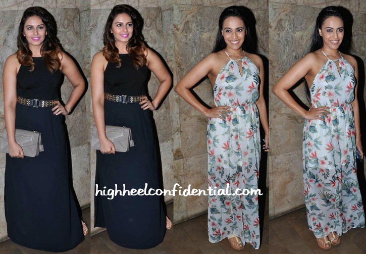 Huma Qureshi And Swara Bhasker At 'Tanu Weds Manu Returns' Screening