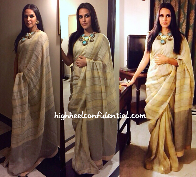 Neha Dhupia In Anavila And Amrapali At 'Madhav Jyoti Alankaran' Event
