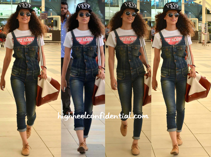 Kangana Ranaut Photographed At The Mumbai Airport Wearing A Diesel Jumpsuit