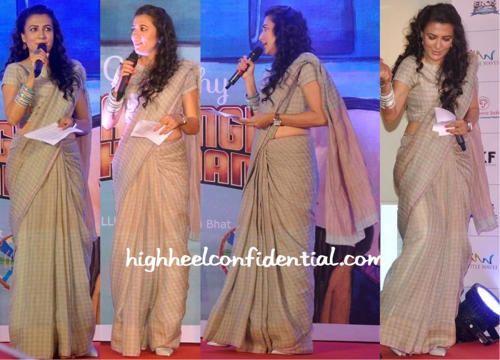Mini Mathur Wears An Anavila Sari To The Bajrangi Bhaijaan Book Launch-1