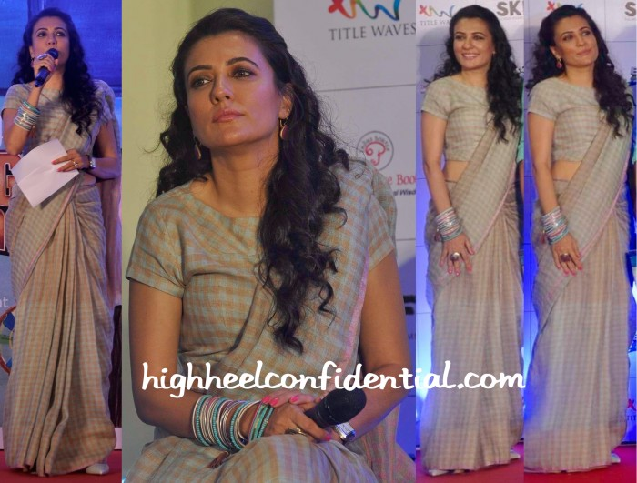 Mini Mathur Wears An Anavila Sari To The Bajrangi Bhaijaan Book Launch-2