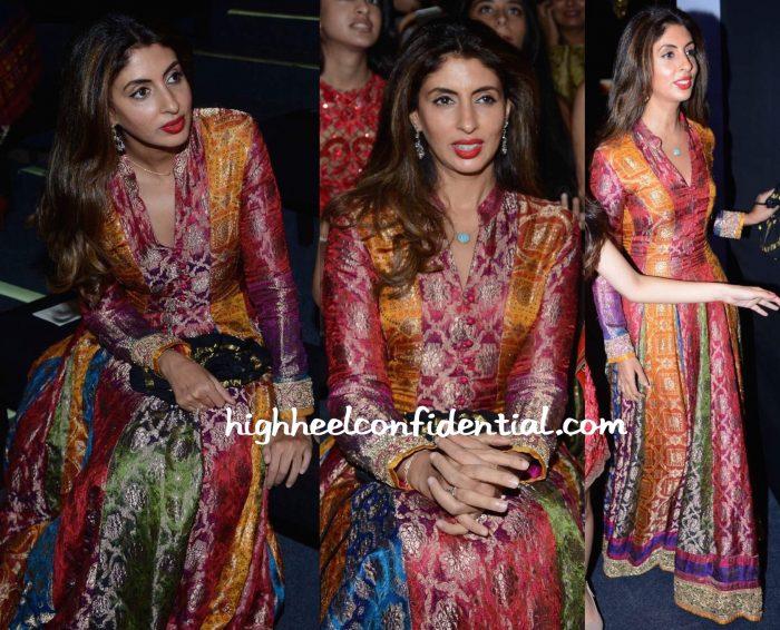Shweta Bachchan Nanda Wears Abu Jani Sandeep Khosla To The Designer Duo's Show At India Bridal Fashion Week 2015-1