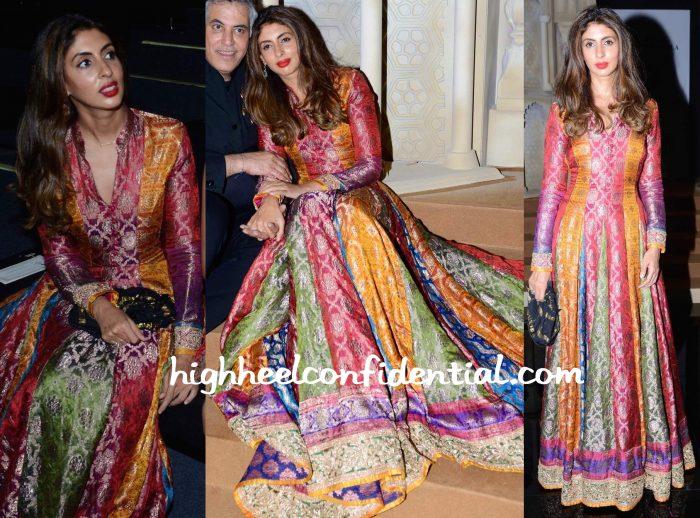 Shweta Bachchan Nanda Wears Abu Jani Sandeep Khosla To The Designer Duo's Show At India Bridal Fashion Week 2015-2