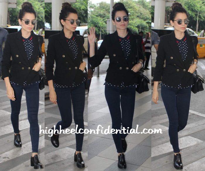 Kangana Ranaut Photographed At The Airport Wearing Tommy Hilfiger And Dior