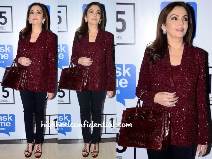 Nita Ambani In Monisha Jaising At Lakme Fashion Week Winter:Festive 2015
