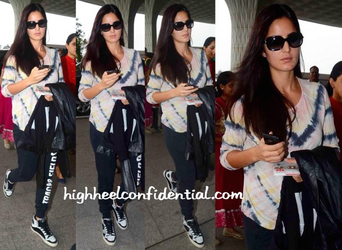 katrina kaif in rachel allegra at the airport