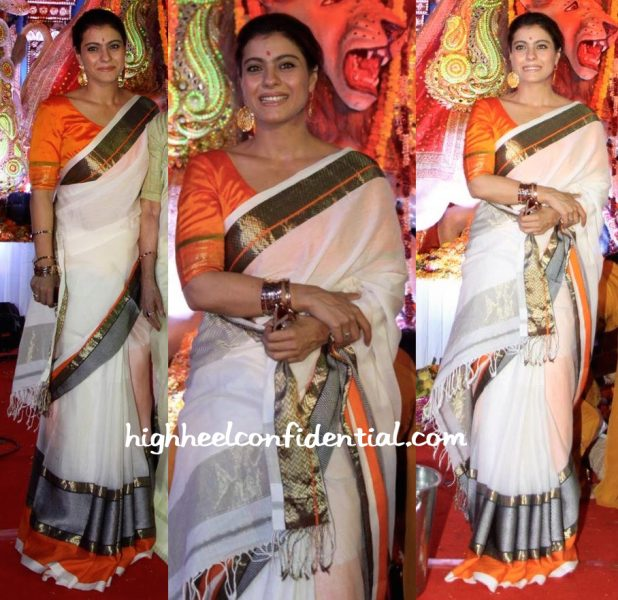 Kajol Photographed At Durga Puja Celebrations-1