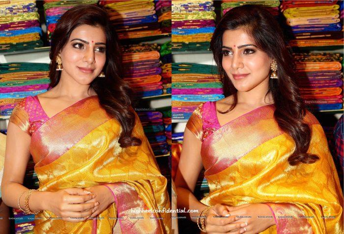 Sari Style- Samantha Ruth Prabhu At South India Shopping Mall Launch-2