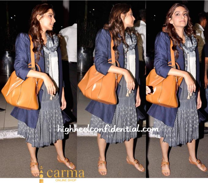 Sonam Kapoor Photographed At Mumbai Airport In Urvashi Kaur-2