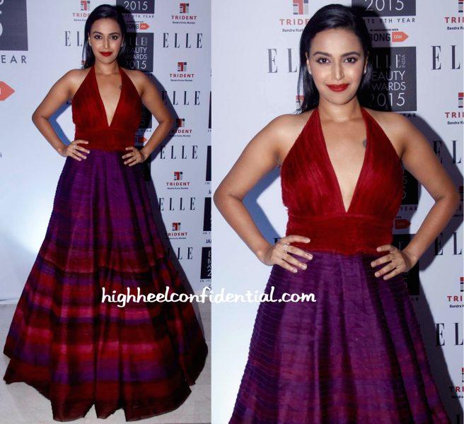 Swara Bhaskar In Jade At Elle Beauty Awards 2015