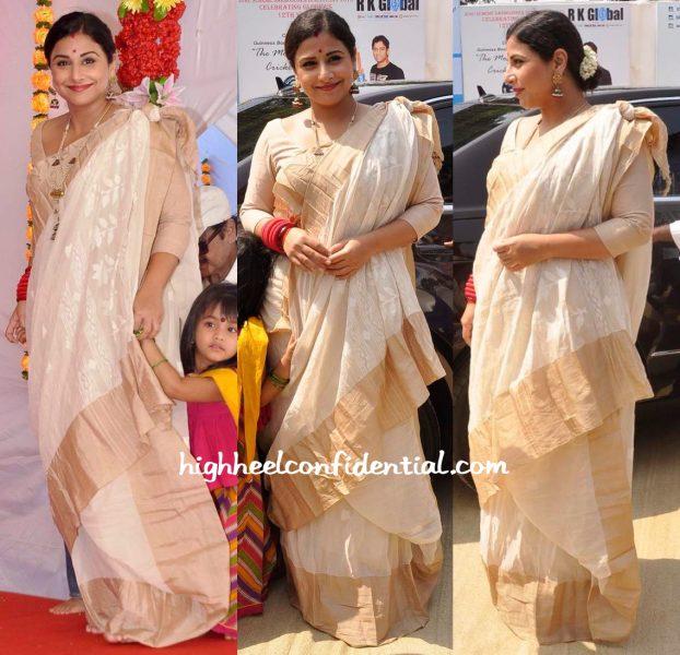 Vidya Balan Wears A Fatherland Sari To Durga Puja Celebrations-1