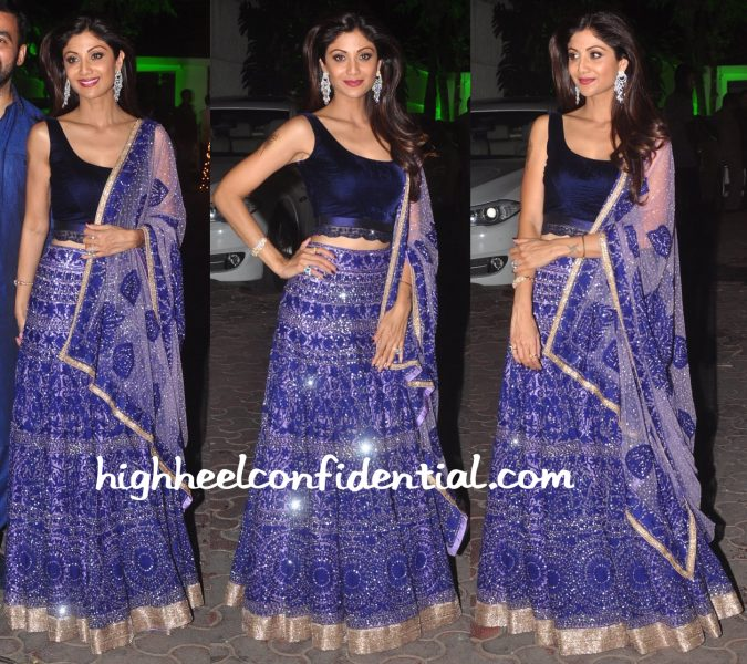 Shilpa Shetty Wears Manish Malhotra To Her Diwali Party-2