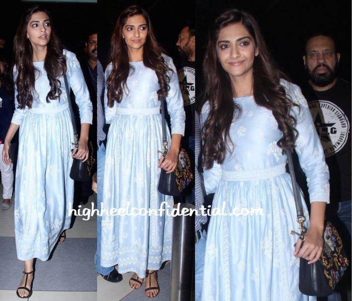 Sonam Kapoor In Payal Pratap At Mumbai Airport-Prem Ratan Dhan Payo-1