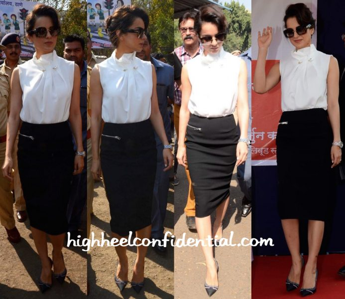 Kangana Ranaut Wears Madison And Victoria Backham To A Road Safety Campaign Launch-1