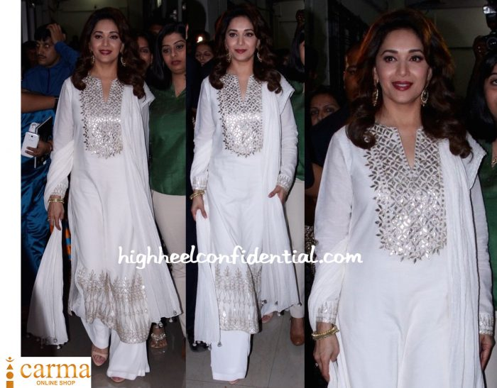 Madhuri Dixit In Anita Dongre At Nutan's Biography Launch-1