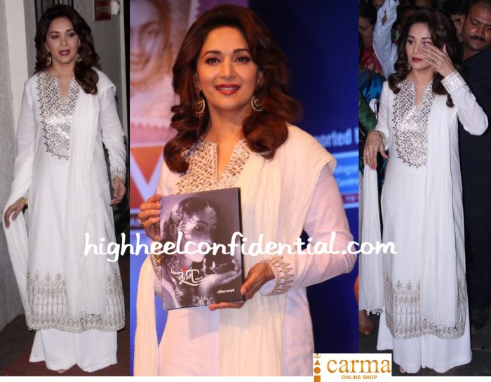 Madhuri Dixit In Anita Dongre At Nutan's Biography Launch-2