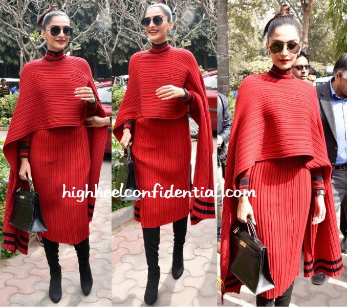Sonam Kapoor Wears Salvatore Ferragamo To Neerja Promotions In Delhi-1