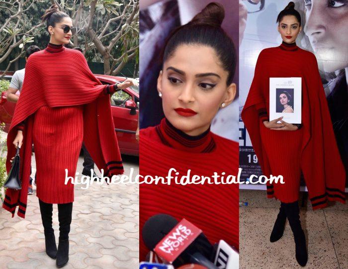 Sonam Kapoor Wears Salvatore Ferragamo To Neerja Promotions In Delhi-2