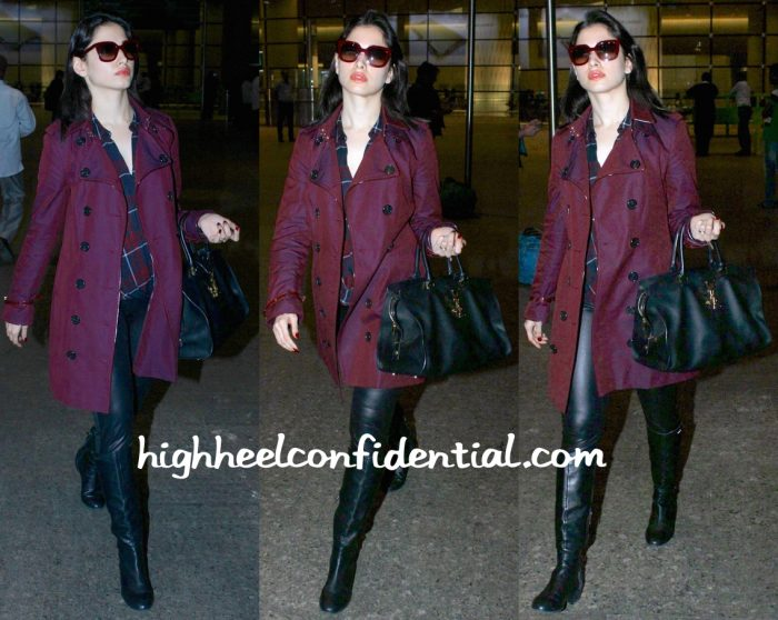 Travel(v)ogue- Tamannaah Bhatia (In Burberry) Photographed At Mumbai Airport-2
