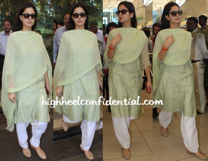 katrina kaif mumbai airport fitoor promotions suit