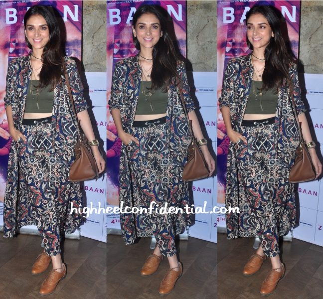 Aditi Rao Hydari In Vero Moda At Zubaan Screening