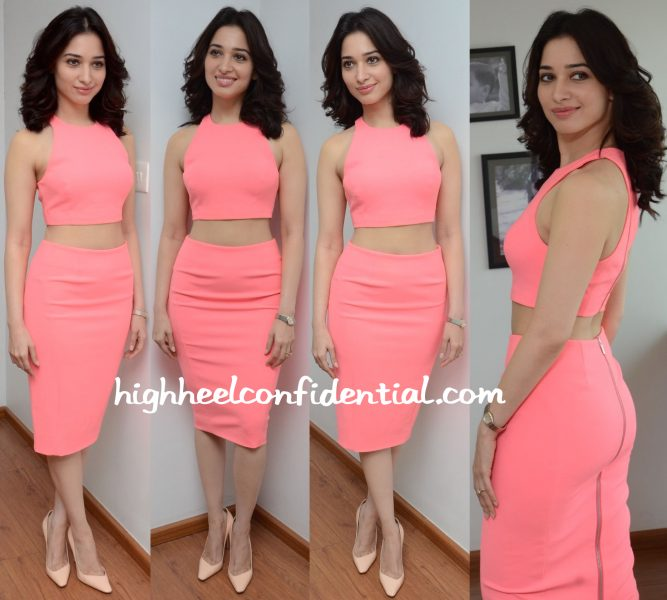 Tamannaah Bhatia Wears BB Dakota And Elizabeth And James To Oopiri Promotions-2