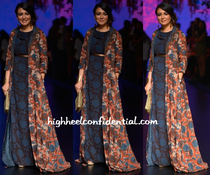 Mini Mathur In Anita Dongre Grassroot At Designer's Show At Lakme Fashion Week Summer Resort 2016