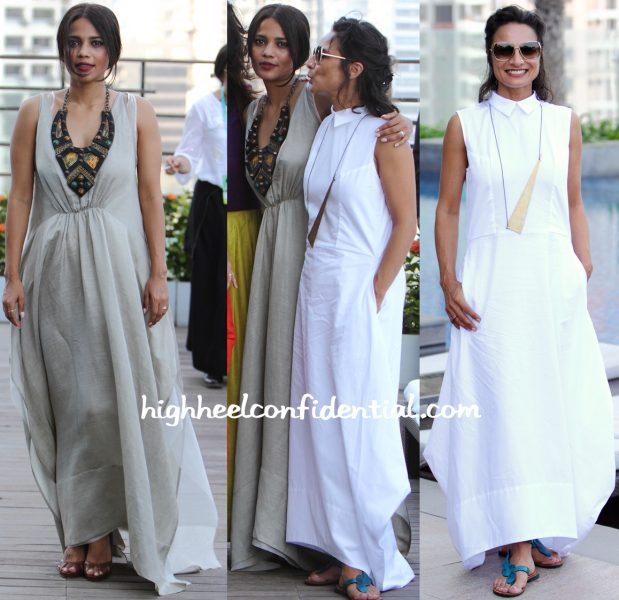 Priyanka Bose And Adhuna Akhtar In Payal Khandwala At LFW Summer Resort 2016