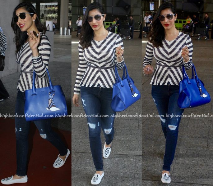 Sophie Choudry Photographed At Mumbai Airport Wearing BCBG