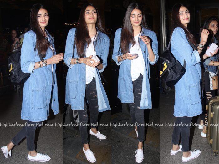 athiya shetty-mumbai airport-fendi backpack
