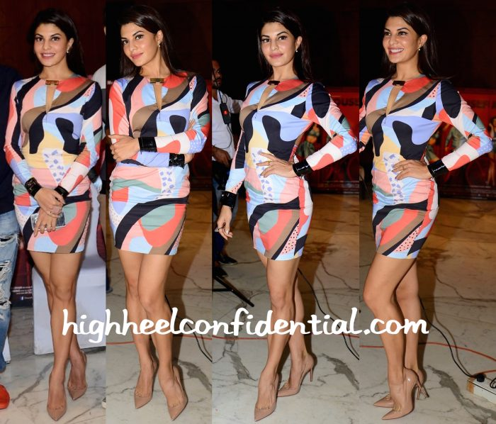 Jacqueline Fernandez Wears Shivan And Narresh To Housefull 3 Promotions