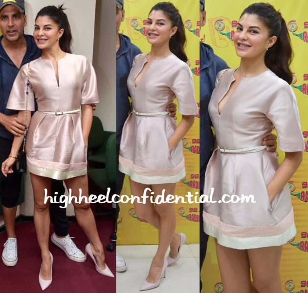 Jacqueline Fernandez Wears The The 2nd Skin Co. To Radio Mirchi Studios For Housefull 3 Promotions-1