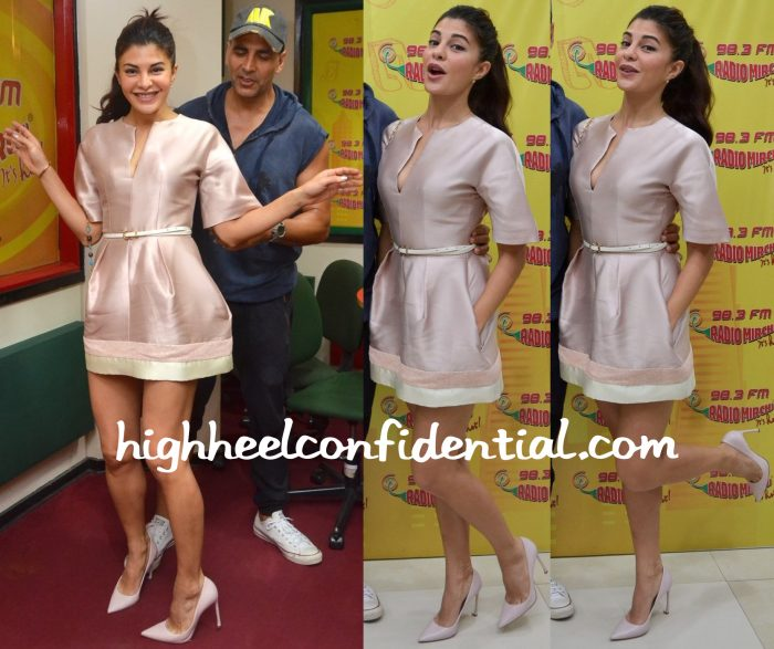 Jacqueline Fernandez Wears The The 2nd Skin Co. To Radio Mirchi Studios For Housefull 3 Promotions-2